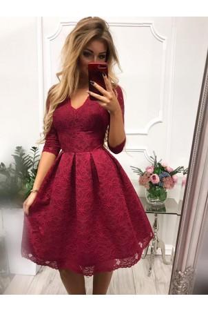 Koronkowa sukienka midi z wycięciem na plecach Adele - bordowa