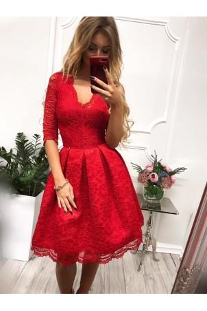 Koronkowa sukienka midi z wycięciem na plecach Adele - czerwona