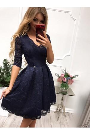 Koronkowa sukienka midi z wycięciem na plecach Adele - granatowa