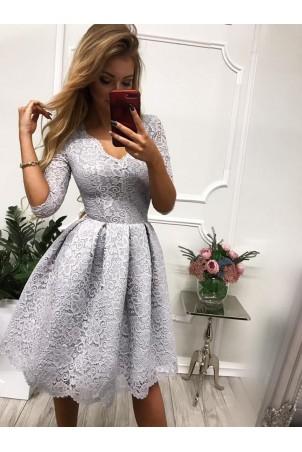 Koronkowa sukienka midi z wycięciem na plecach Adele - szara