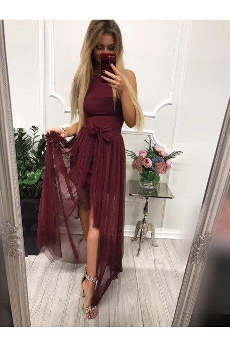 Krótka sukienka na wesele z doczepianą spódnicą Samantha - bordowa