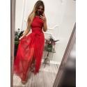 Krótka sukienka na wesele z doczepianą spódnicą Samantha - czerwona