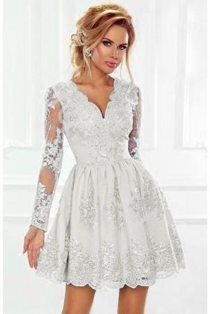 Rozkloszowana koronkowa sukienka z długim rękawem Eva - biała