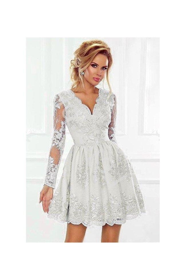 a469ecb87 Rozkloszowana koronkowa sukienka z długim rękawem Eva - biała. Loading zoom