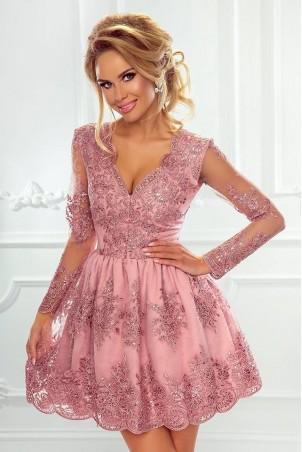 Rozkloszowana koronkowa sukienka z długim rękawem Eva - szara