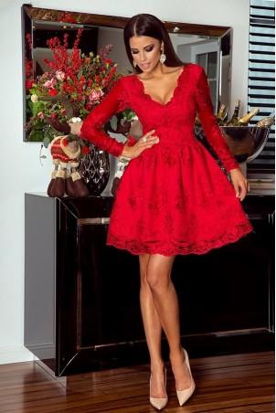 Rozkloszowana koronkowa sukienka z długim rękawem Eva - czerwona