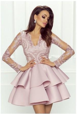 Koronkowa sukienka z piankową spódnicą na wesele Iris - liliowa