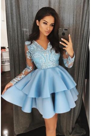 Koronkowa sukienka z piankową spódnicą na wesele Iris - błękitna