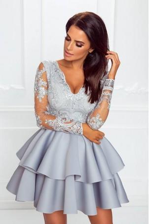 Koronkowa sukienka z piankową spódnicą na wesele Iris - szara