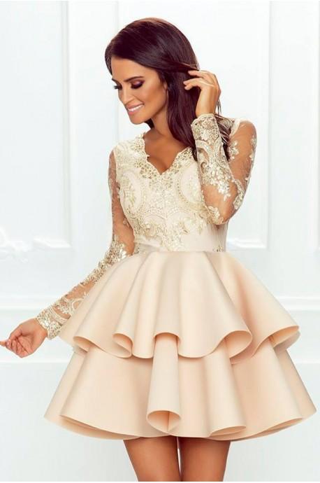 Koronkowa sukienka z piankową spódnicą na wesele Iris - beżowa
