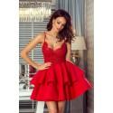 Koronkowa sukienka na wesele z piankową spódnicą Janet - czerwona