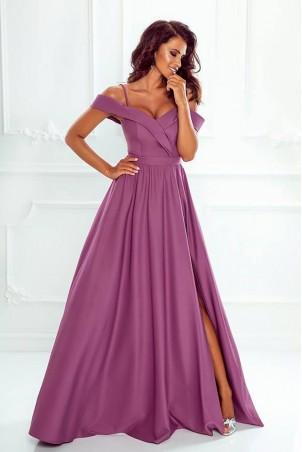 Długa suknia wieczorowa bez ramion Sandy - jagodowa