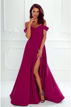 Długa suknia wieczorowa bez ramion Sandy - śliwkowa