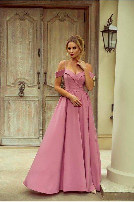 Długa suknia wieczorowa bez ramion Sandy - pustynny róż