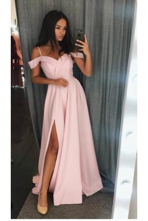Długa suknia wieczorowa bez ramion Sandy - pudrowy róż