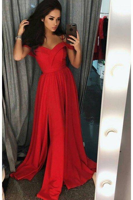Długa suknia wieczorowa bez ramion Sandy - czerwona