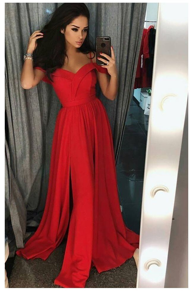 Długa suknia wieczorowa bez ramion Sandy czerwona Pretty