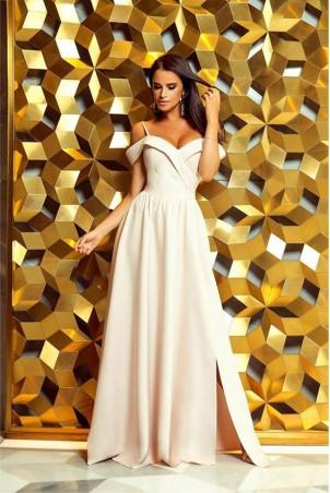 Długa suknia wieczorowa bez ramion Sandy - beżowa