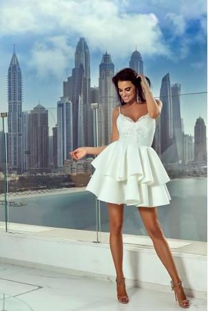 Koronkowa sukienka z piankową spódnicą Janet - biała