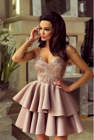 Koronkowa sukienka na wesele z piankową spódnicą Janet - cappuccino