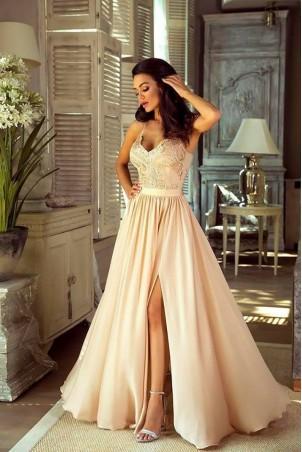 Długa sukienka na cienkich ramiączkach Sally - beżowa