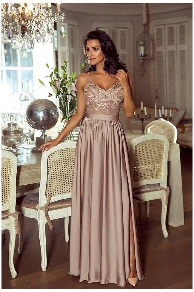 f1eefda7 Długa sukienka na cienkich ramiączkach Sally - cappuccino - Pretty ...