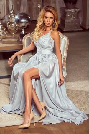 Długa sukienka na cienkich ramiączkach Sally - szara