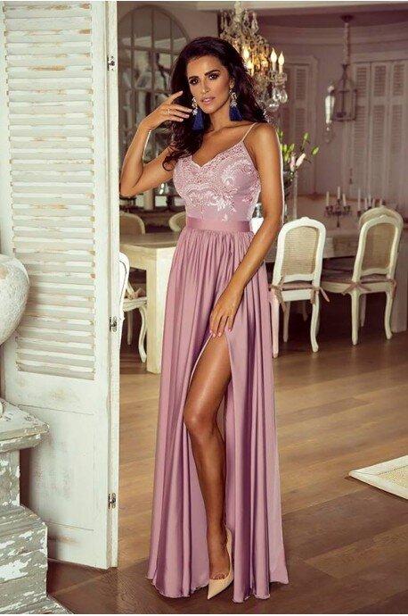 Długa sukienka na cienkich ramiączkach Sally - lila róż