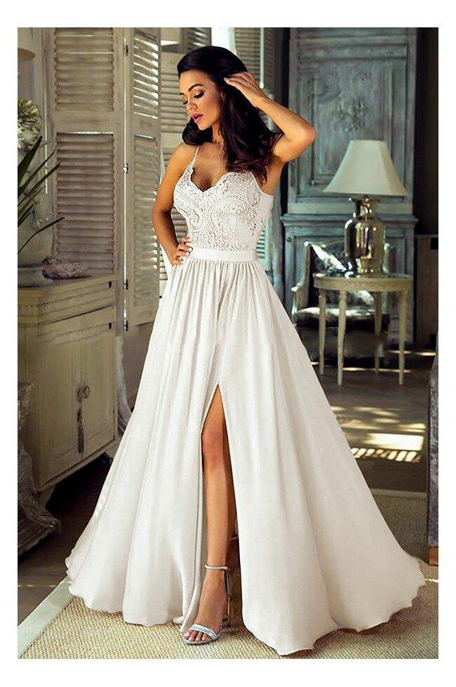 Długa sukienka na cienkich ramiączkach Sally - biała