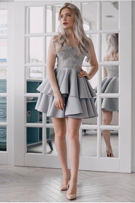 Koronkowa sukienka na wesele z piankową spódnicą Janet - szara