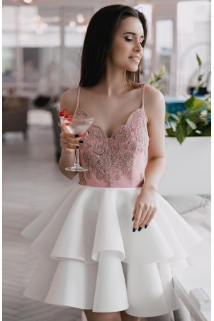 Koronkowa sukienka na wesele z piankową spódnicą Janet - różowo/biała