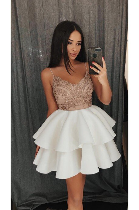Koronkowa sukienka na wesele z piankową spódnicą Janet - cappuccino/biała