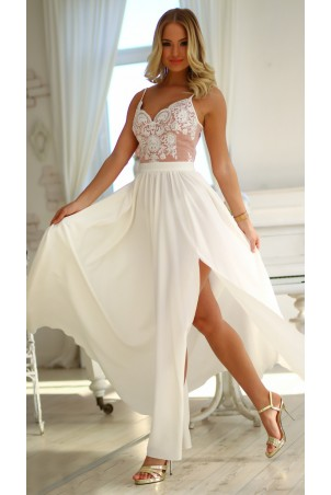 Długa sukienka na cienkich ramiączkach Sally - biało różowa