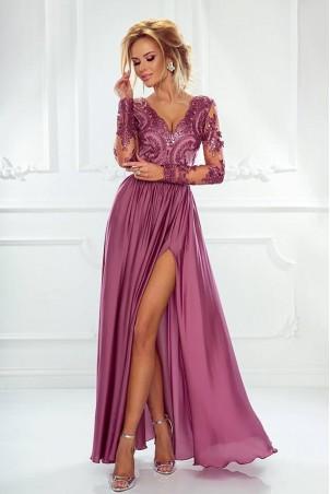 Długa koronkowa sukienka z długim rękawem Ophelia - jagodowa