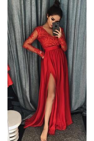 Długa koronkowa sukienka z długim rękawem Ophelia - czerwona