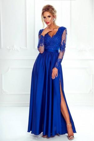 Długa koronkowa sukienka z długim rękawem Ophelia - chabrowa