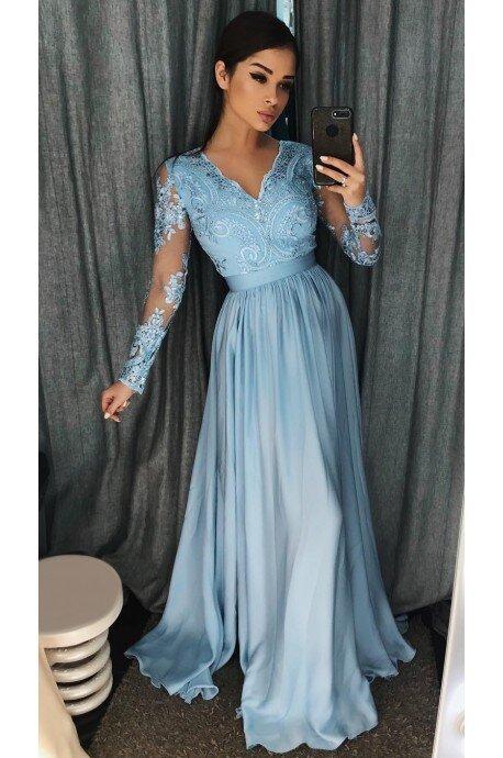 Długa koronkowa sukienka z długim rękawem Ophelia - błękitna