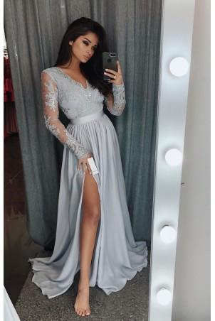 Długa koronkowa sukienka z długim rękawem Ophelia - szara