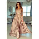 Długa koronkowa sukienka z długim rękawem Ophelia - karmelowa