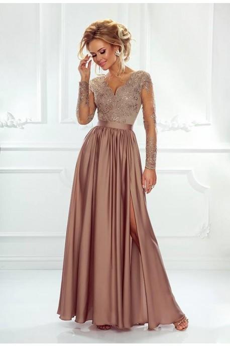 Długa koronkowa sukienka z długim rękawem Ophelia - cappuccino