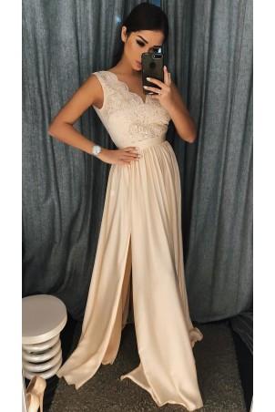 Długa sukienka na wesele z koronkową górą Julia - beżowa