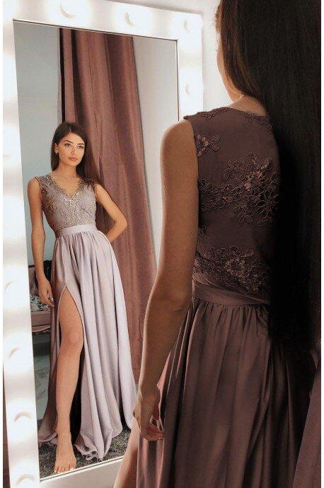 79ee3abb08 Długa sukienka na wesele z koronkową górą Julia - cappuccino ...