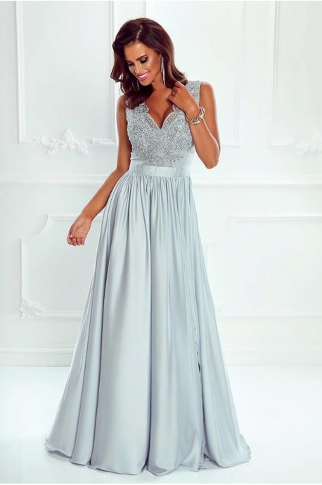 f18b651330 Długa sukienka na wesele z koronkową górą Julia - szara - Pretty ...