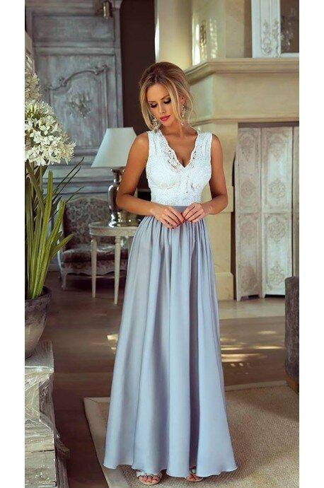 Długa sukienka na wesele z koronkową górą Julia - biało-srebrna