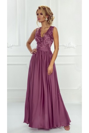 Długa sukienka na wesele z koronkową górą Julia - jagodowa