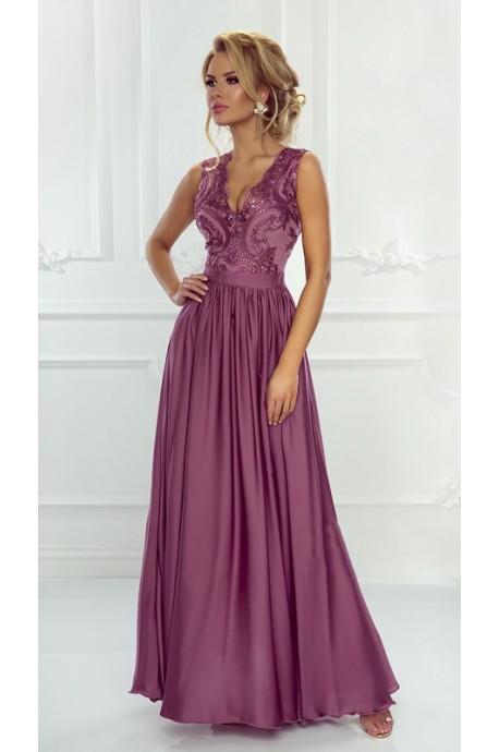 b7ef30313f Długa sukienka na wesele z koronkową górą Julia - jagodowa - Pretty ...