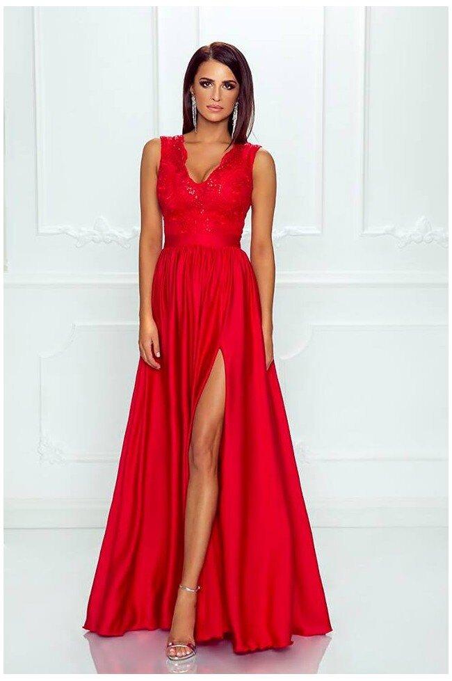 28fd1ea8a8 Długa sukienka na wesele z koronkową górą Julia - czerwona. Loading zoom