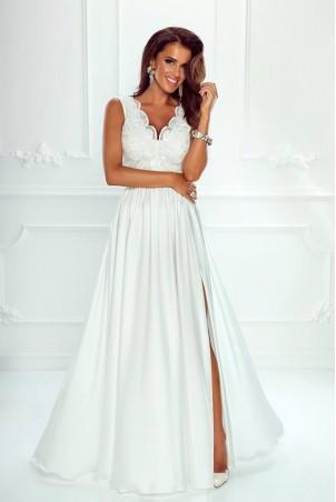 Długa sukienka na wesele z koronkową górą Julia - biała