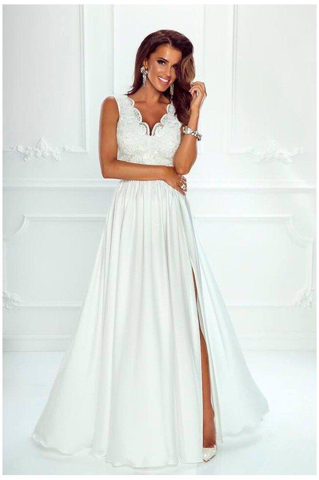 f0e700354e Długa sukienka na wesele z koronkową górą Julia - biała. Loading zoom