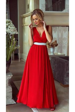 Długa sukienka wieczorowa ze srebrnym pasem Olivia - czerwona